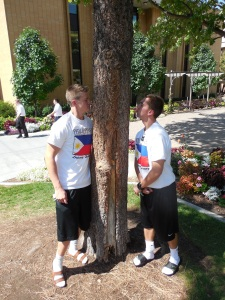 "Elders Burbidge and Salisbury sniffing a tree that ""smells like cream soda!"""