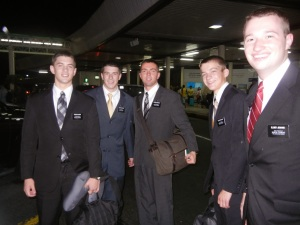 Hunter and fellow missionaries arriving in Manila after a full day of travel!