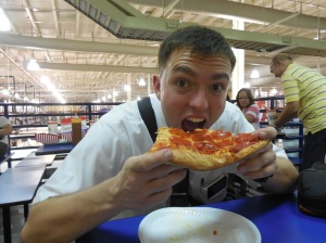Eating pizza at the S&R (The Philippine branch of Costco)