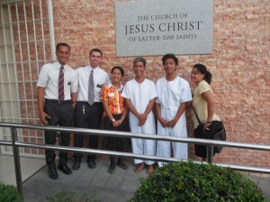 The baptism of Renren.  He was taught by the sister missionaries.