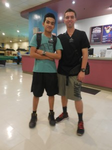 Elder Burbidge and his former companion, Elder Doloritos, at a zone bowling activity.