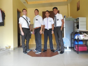 My new roomates and companion.  Elder Caligurian is on the far right.