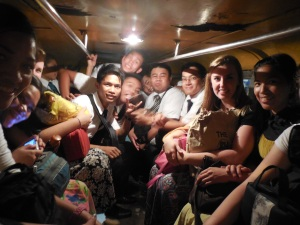 Elder Burbidge's fellow missionaries and friends packed into a Jeepney (public transportation)