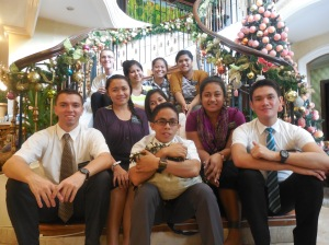 Elder Burbidge and his fellow missionaries at Christmas time.