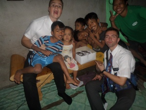 Elder Collins and Elder Burbidge with the birthday party kids!